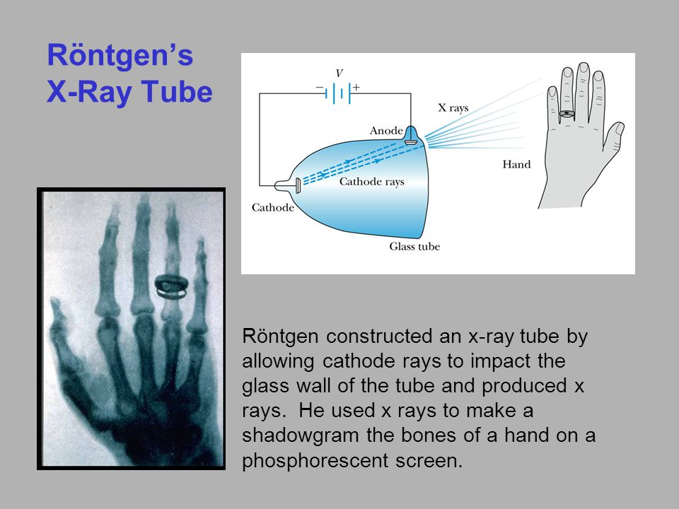 Röntgen's X-Ray Tube Röntgen constructed an x-ray tube by allowing cathode rays to impact the glass wall of the tube and produced x rays.