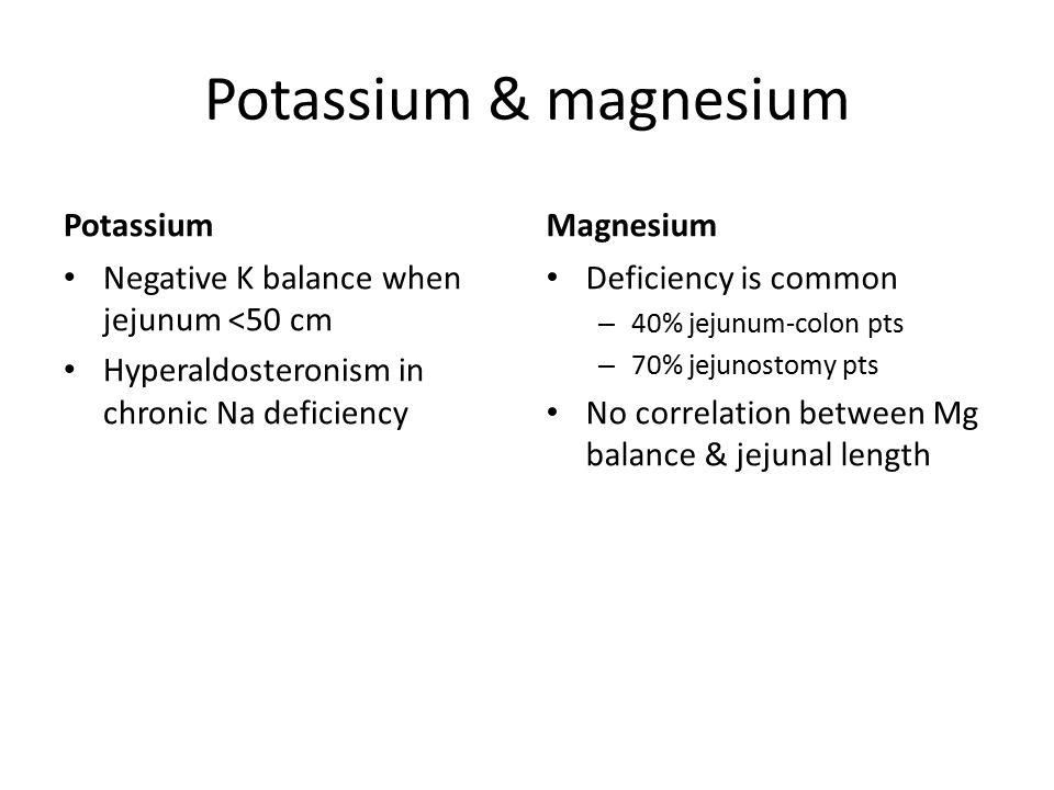 Potassium & magnesium PotassiumMagnesium Negative K balance when jejunum <50 cm Hyperaldosteronism in chronic Na deficiency Deficiency is common – 40%
