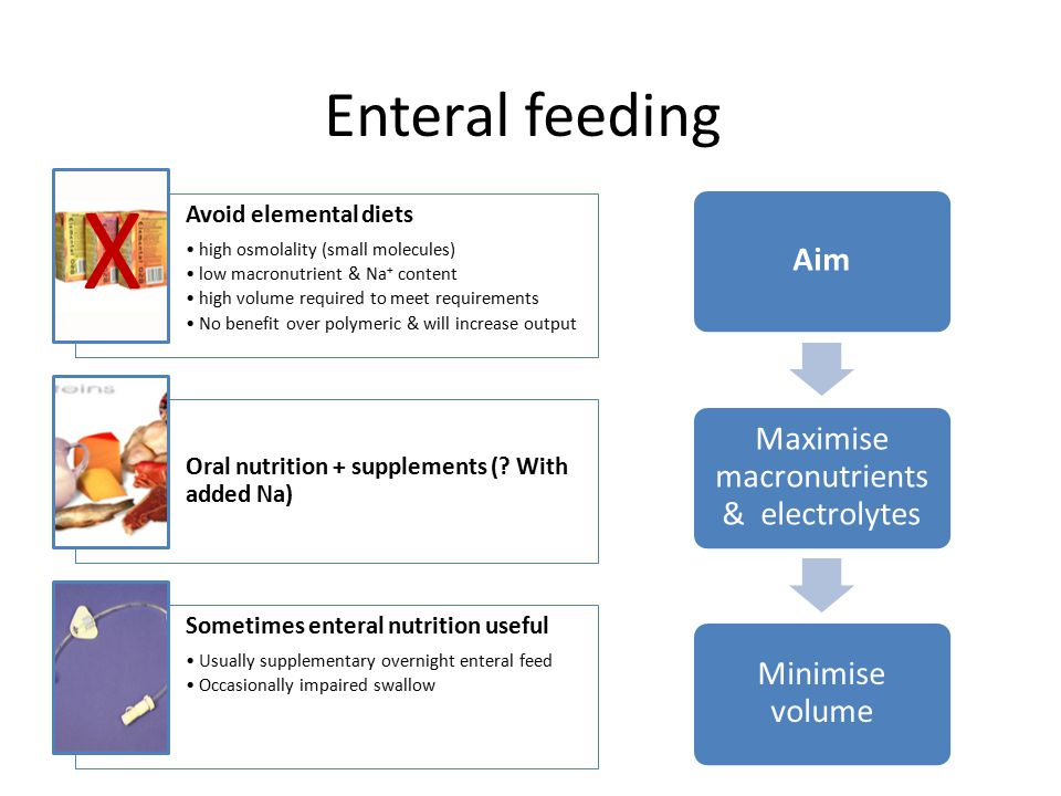 Enteral feeding Avoid elemental diets high osmolality (small molecules) low macronutrient & Na + content high volume required to meet requirements No