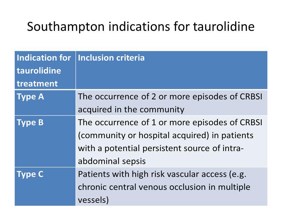Southampton indications for taurolidine