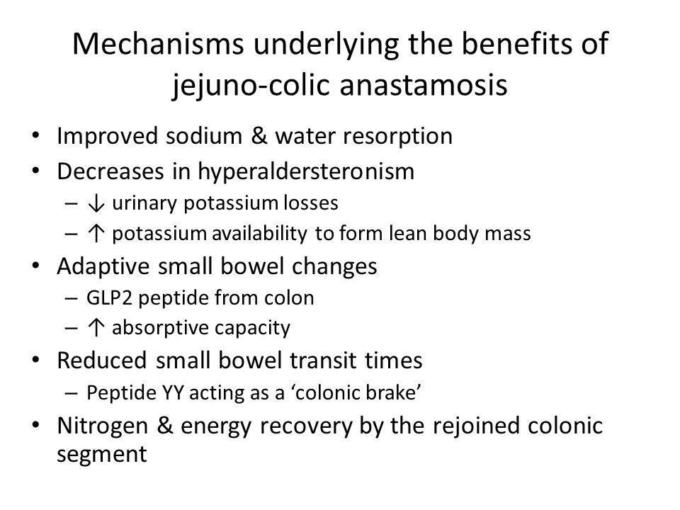 Mechanisms underlying the benefits of jejuno-colic anastamosis Improved sodium & water resorption Decreases in hyperaldersteronism – ↓ urinary potassi