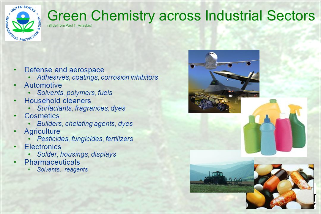 Green Chemistry across Industrial Sectors (Slide from Paul T.