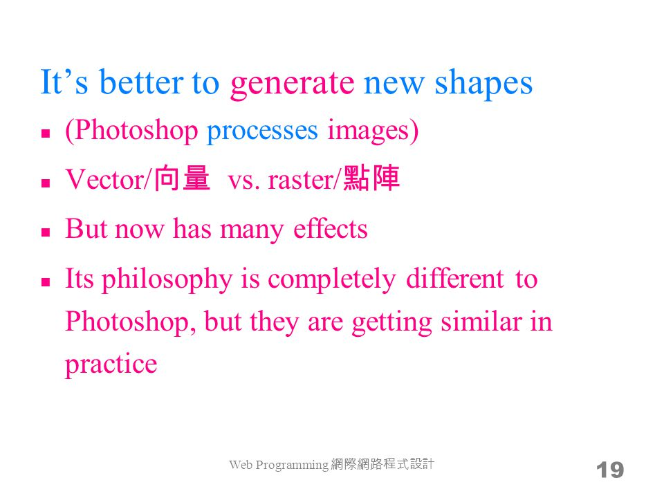 It's better to generate new shapes (Photoshop processes images) Vector/ 向量 vs.