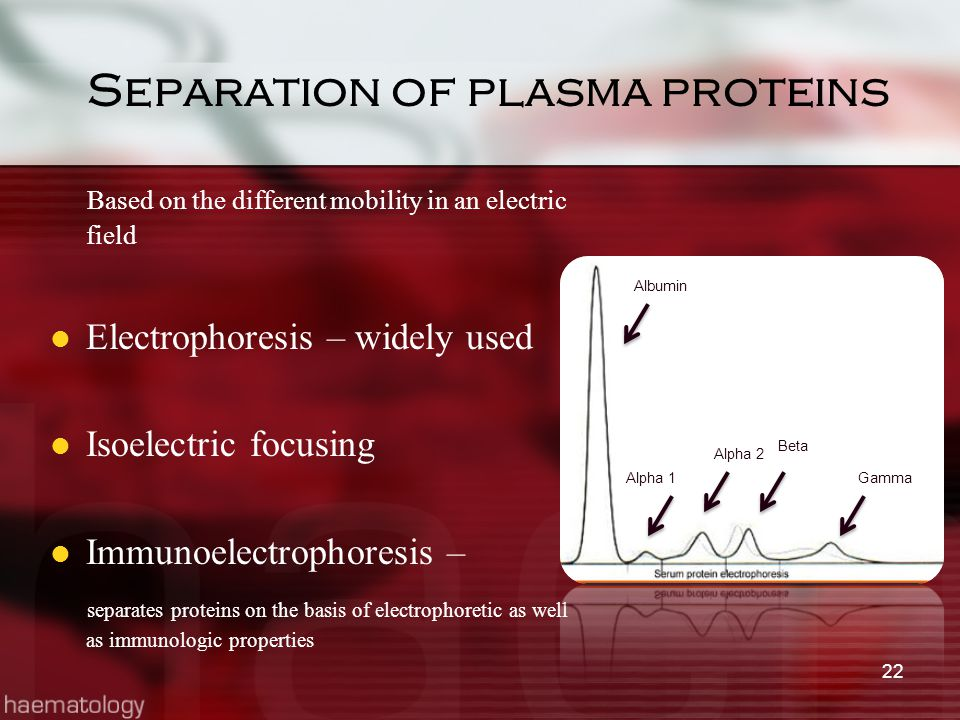 Separation of plasma proteins Based on the different mobility in an electric field Electrophoresis – widely used Isoelectric focusing Immunoelectropho