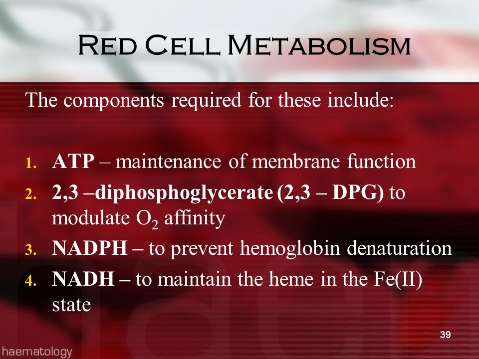 Red Cell Metabolism The components required for these include: 1. ATP – maintenance of membrane function 2. 2,3 –diphosphoglycerate (2,3 – DPG) to mod