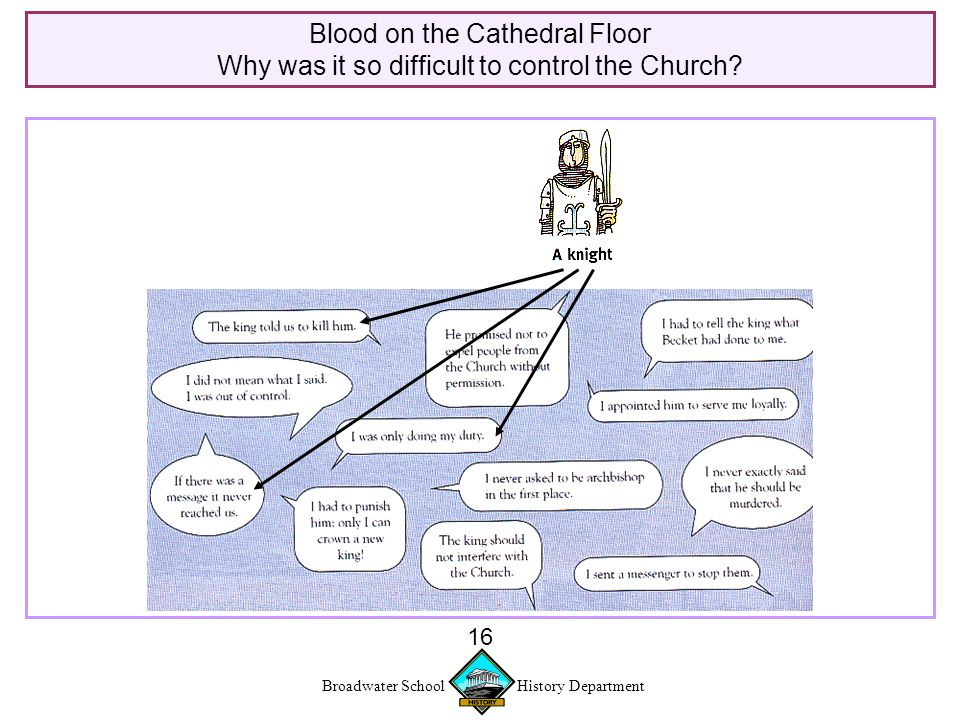 Broadwater School History Department 16 Blood on the Cathedral Floor Why was it so difficult to control the Church