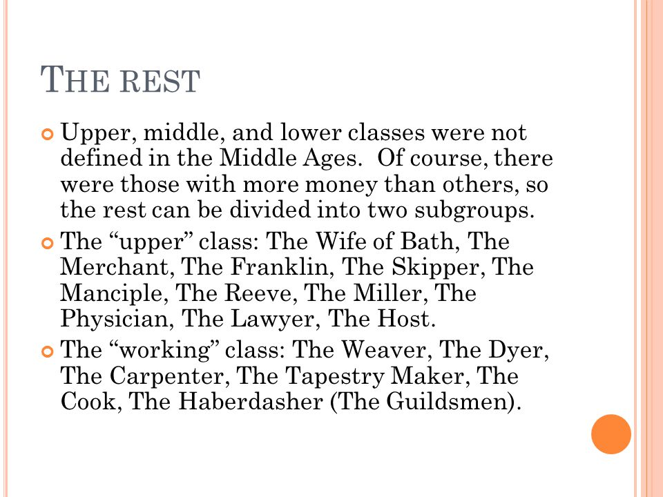 T HE REST Upper, middle, and lower classes were not defined in the Middle Ages.