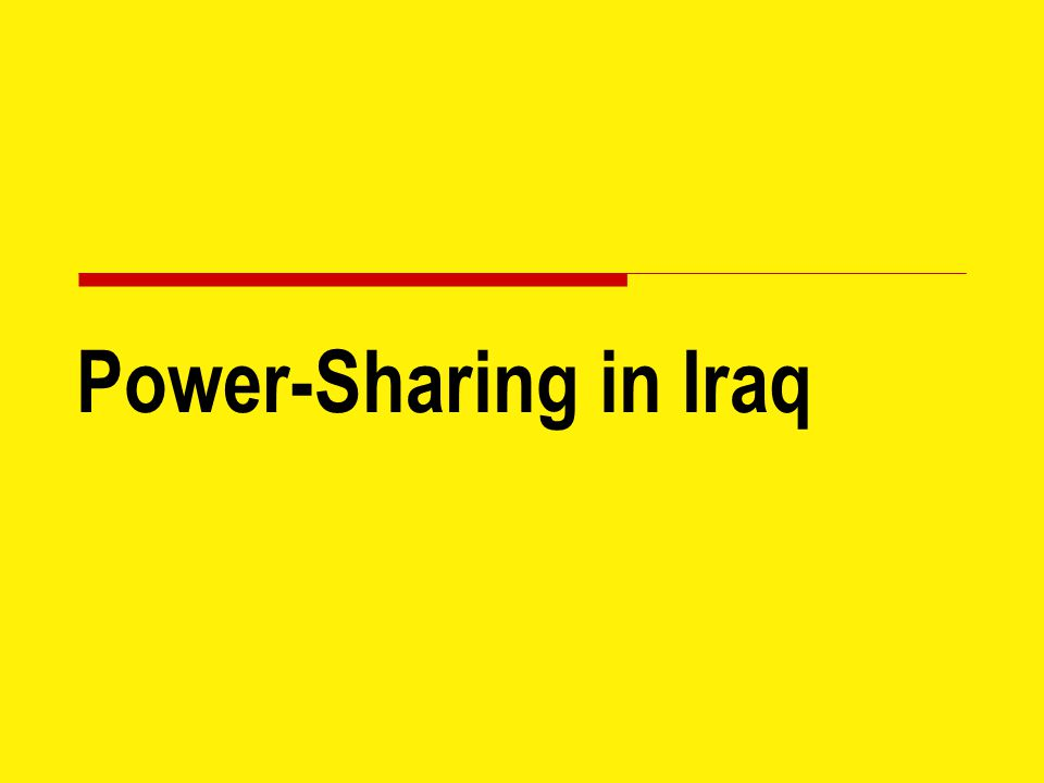 Power-Sharing in Iraq