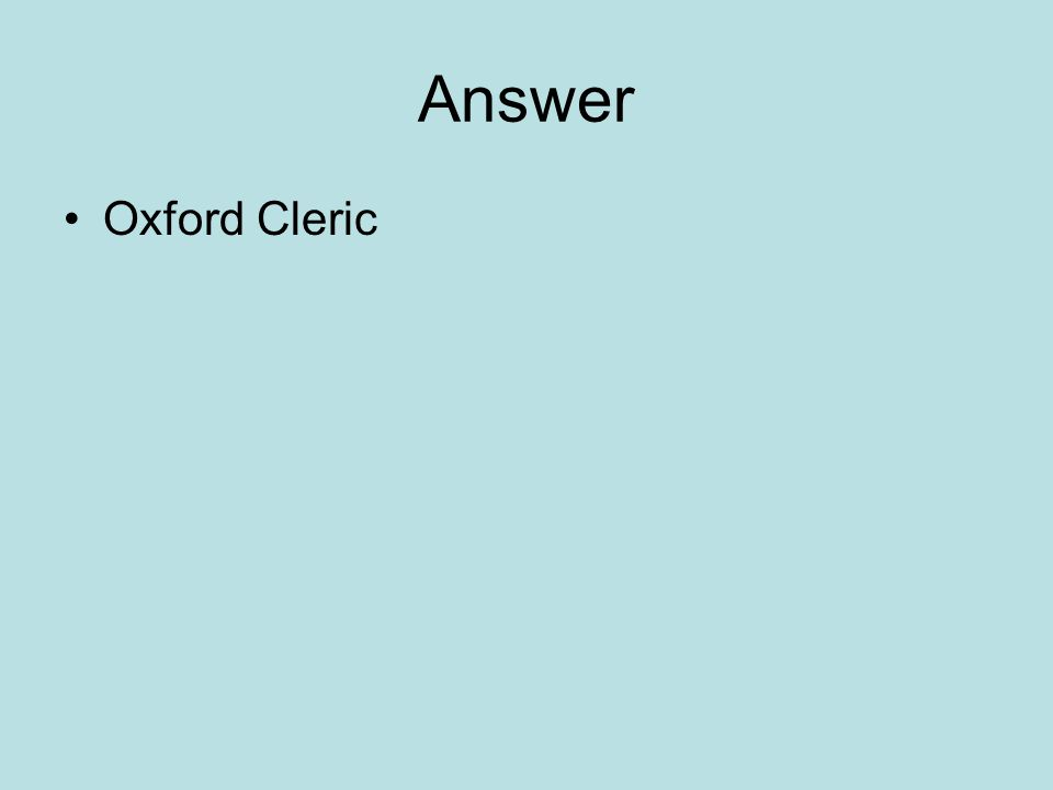 Answer Oxford Cleric