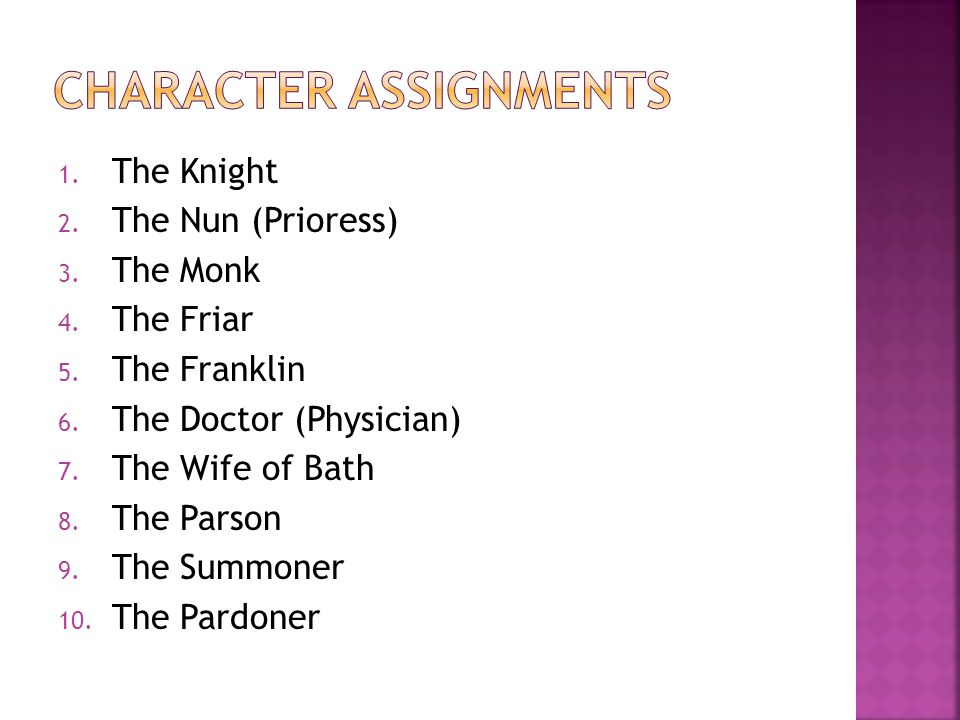 1.The Knight 2. The Nun (Prioress) 3. The Monk 4.