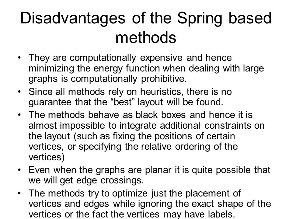 Disadvantages of the Spring based methods They are computationally expensive and hence minimizing the energy function when dealing with large graphs is computationally prohibitive.