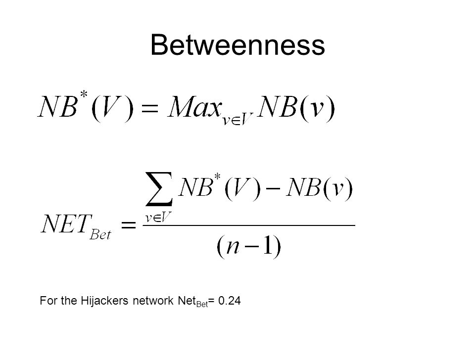 Betweenness For the Hijackers network Net Bet = 0.24