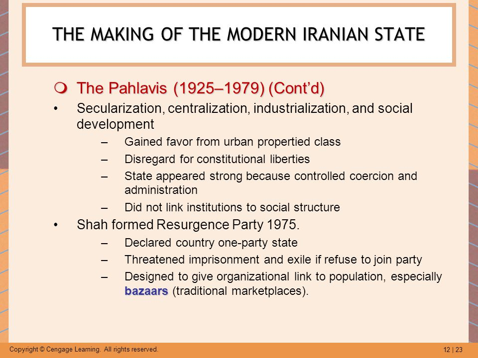 12 | 23 Copyright © Cengage Learning. All rights reserved. THE MAKING OF THE MODERN IRANIAN STATE  The Pahlavis (1925–1979) (Cont'd) Secularization,