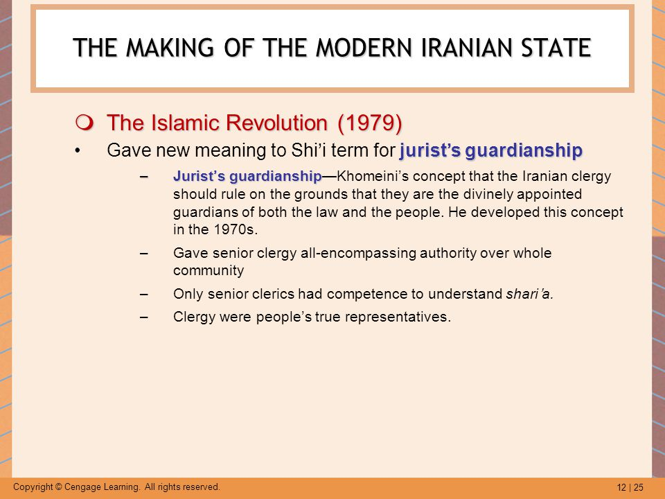 12 | 25 Copyright © Cengage Learning. All rights reserved. THE MAKING OF THE MODERN IRANIAN STATE  The Islamic Revolution (1979) jurist's guardianshi