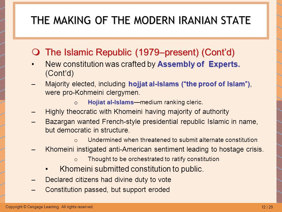 12 | 29 Copyright © Cengage Learning. All rights reserved. THE MAKING OF THE MODERN IRANIAN STATE  The Islamic Republic (1979–present) (Cont'd) Assem