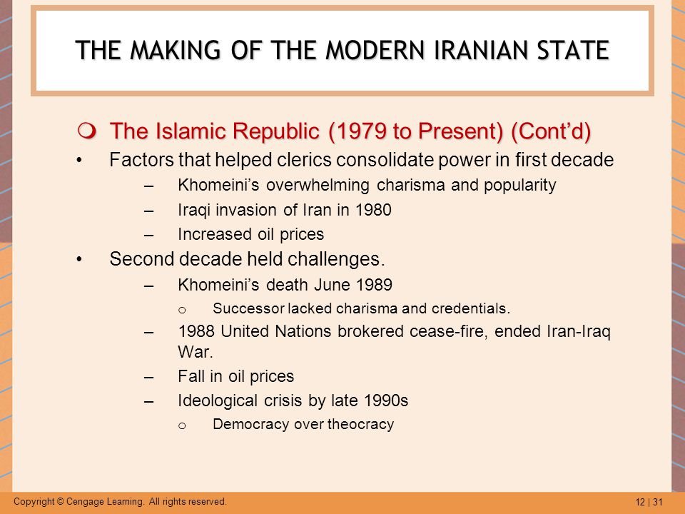 12 | 31 Copyright © Cengage Learning. All rights reserved. THE MAKING OF THE MODERN IRANIAN STATE  The Islamic Republic (1979 to Present) (Cont'd) Fa