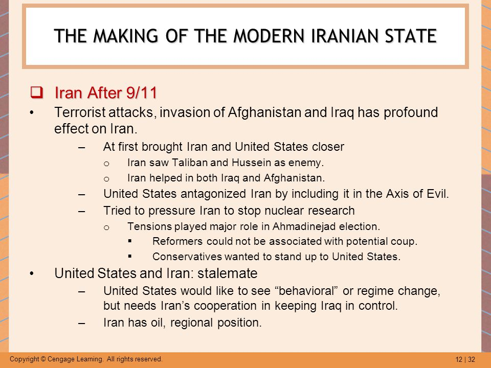 12 | 32 Copyright © Cengage Learning. All rights reserved. THE MAKING OF THE MODERN IRANIAN STATE  Iran After 9/11 Terrorist attacks, invasion of Afg