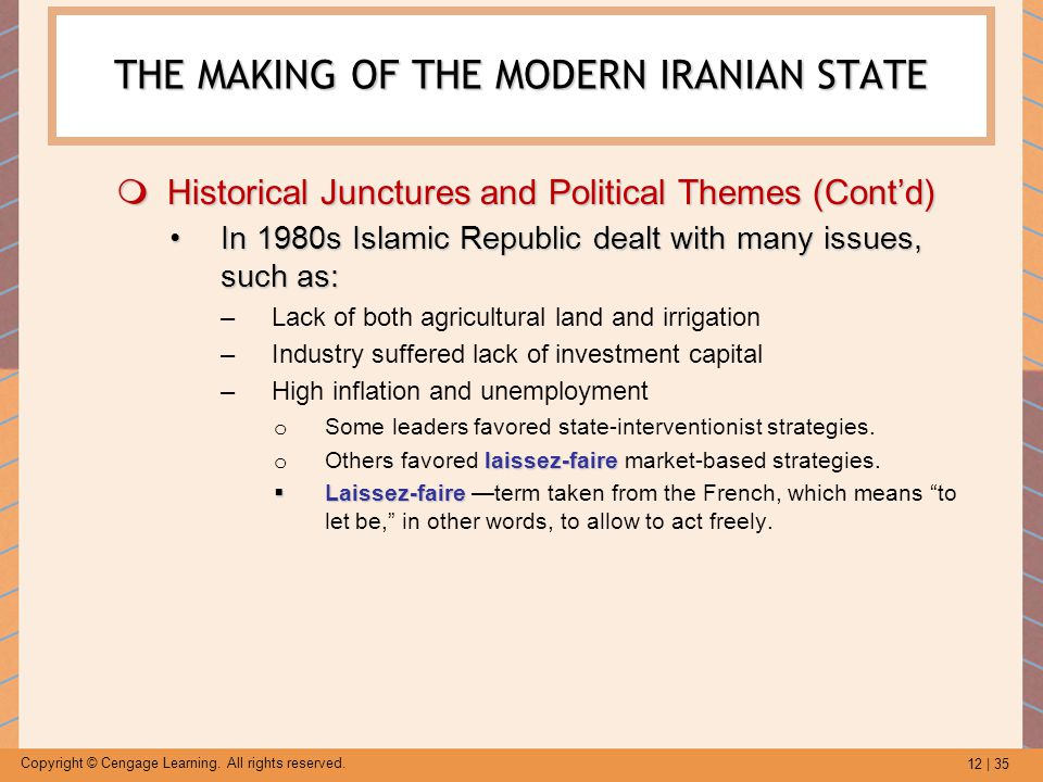 12 | 35 Copyright © Cengage Learning. All rights reserved. THE MAKING OF THE MODERN IRANIAN STATE  Historical Junctures and Political Themes (Cont'd)