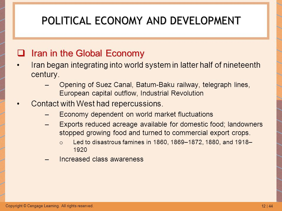 12 | 44 Copyright © Cengage Learning. All rights reserved. POLITICAL ECONOMY AND DEVELOPMENT  Iran in the Global Economy Iran began integrating into
