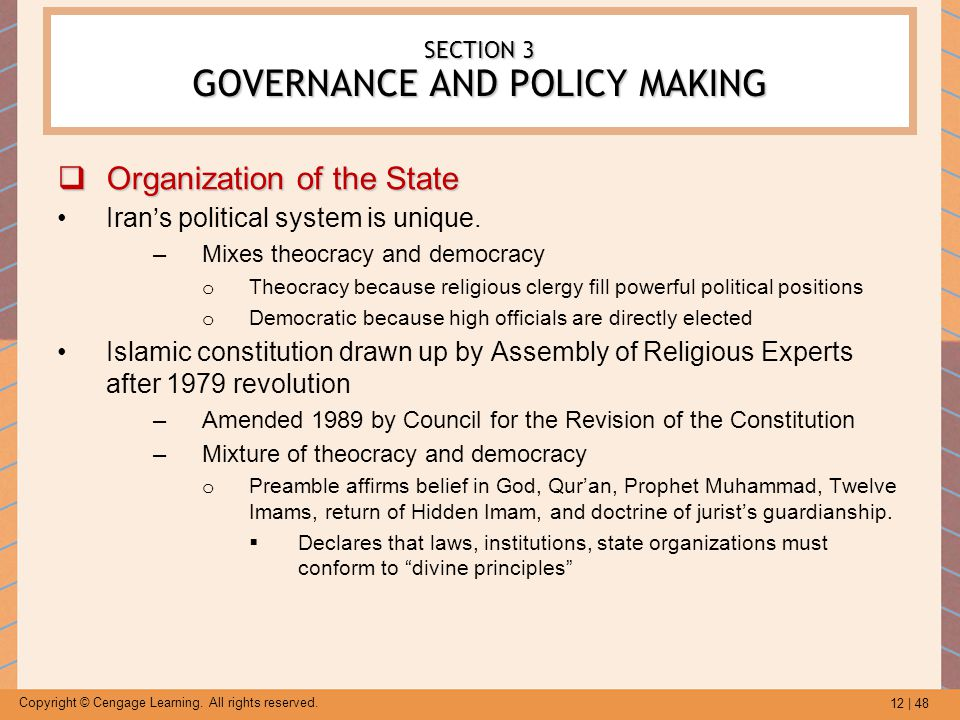 12 | 48 Copyright © Cengage Learning. All rights reserved. SECTION 3 GOVERNANCE AND POLICY MAKING  Organization of the State Iran's political system
