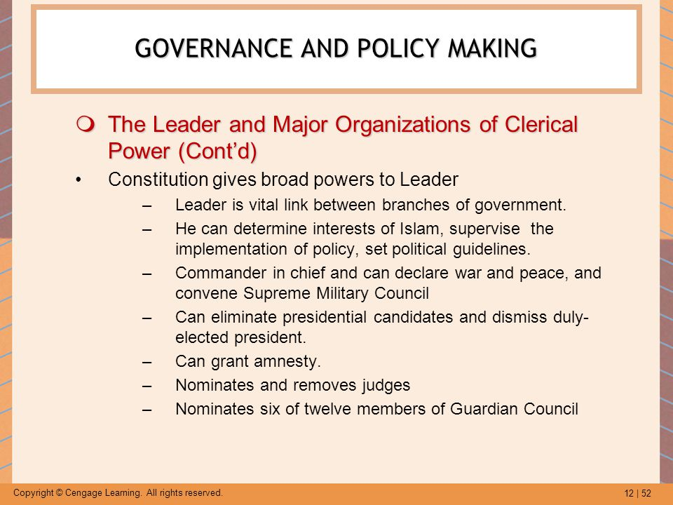 12 | 52 Copyright © Cengage Learning. All rights reserved. GOVERNANCE AND POLICY MAKING  The Leader and Major Organizations of Clerical Power (Cont'd