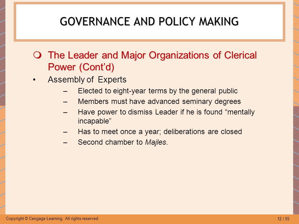 12 | 55 Copyright © Cengage Learning. All rights reserved.  The Leader and Major Organizations of Clerical Power (Cont'd) Assembly of Experts –Electe