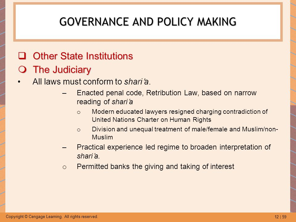 12 | 59 Copyright © Cengage Learning. All rights reserved. GOVERNANCE AND POLICY MAKING  Other State Institutions  The Judiciary All laws must confo