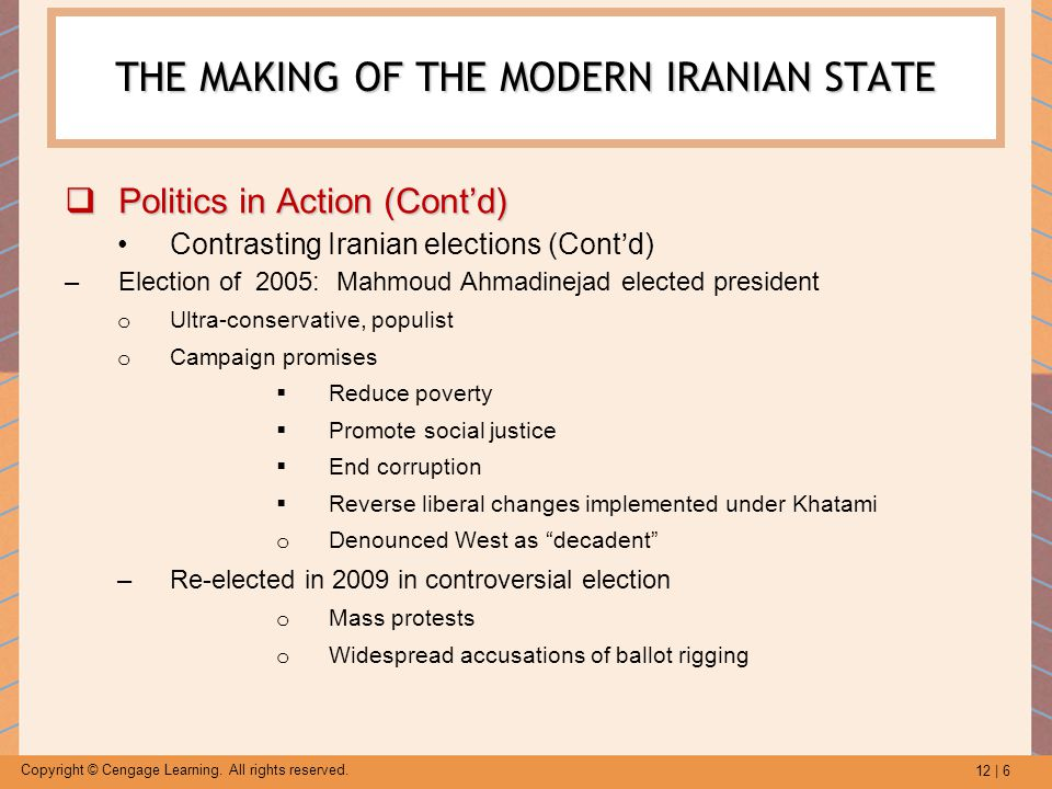 12 | 6 Copyright © Cengage Learning. All rights reserved. THE MAKING OF THE MODERN IRANIAN STATE  Politics in Action (Cont'd) Contrasting Iranian ele