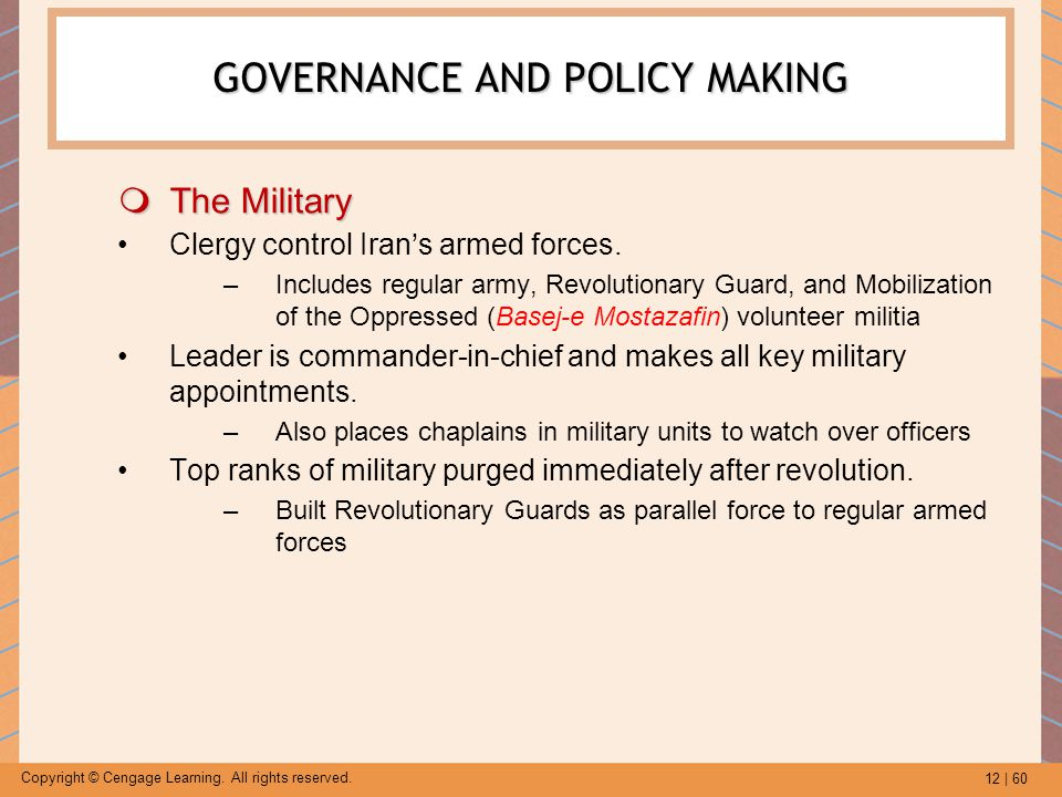 12 | 60 Copyright © Cengage Learning. All rights reserved. GOVERNANCE AND POLICY MAKING  The Military Clergy control Iran's armed forces. –Includes r