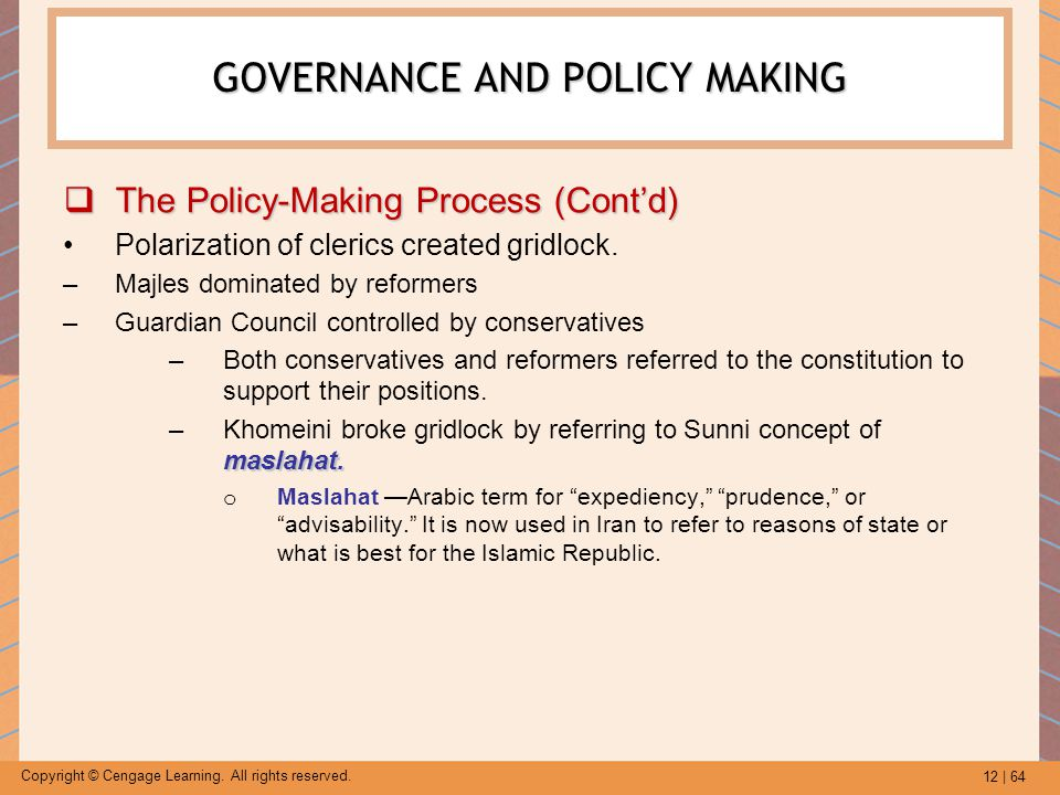 12 | 64 Copyright © Cengage Learning. All rights reserved. GOVERNANCE AND POLICY MAKING  The Policy-Making Process (Cont'd) Polarization of clerics c