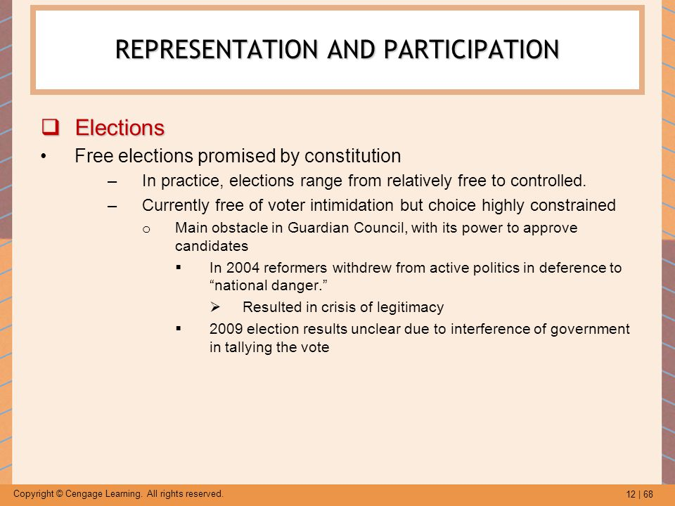 12 | 68 Copyright © Cengage Learning. All rights reserved. REPRESENTATION AND PARTICIPATION  Elections Free elections promised by constitution –In pr