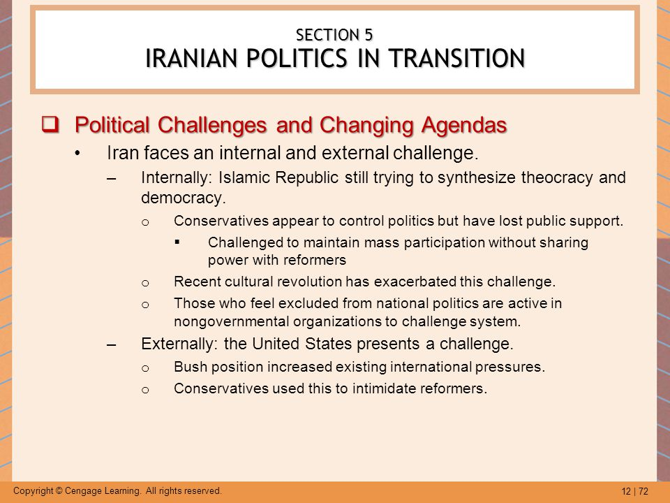 12 | 72 Copyright © Cengage Learning. All rights reserved. SECTION 5 IRANIAN POLITICS IN TRANSITION  Political Challenges and Changing Agendas Iran f