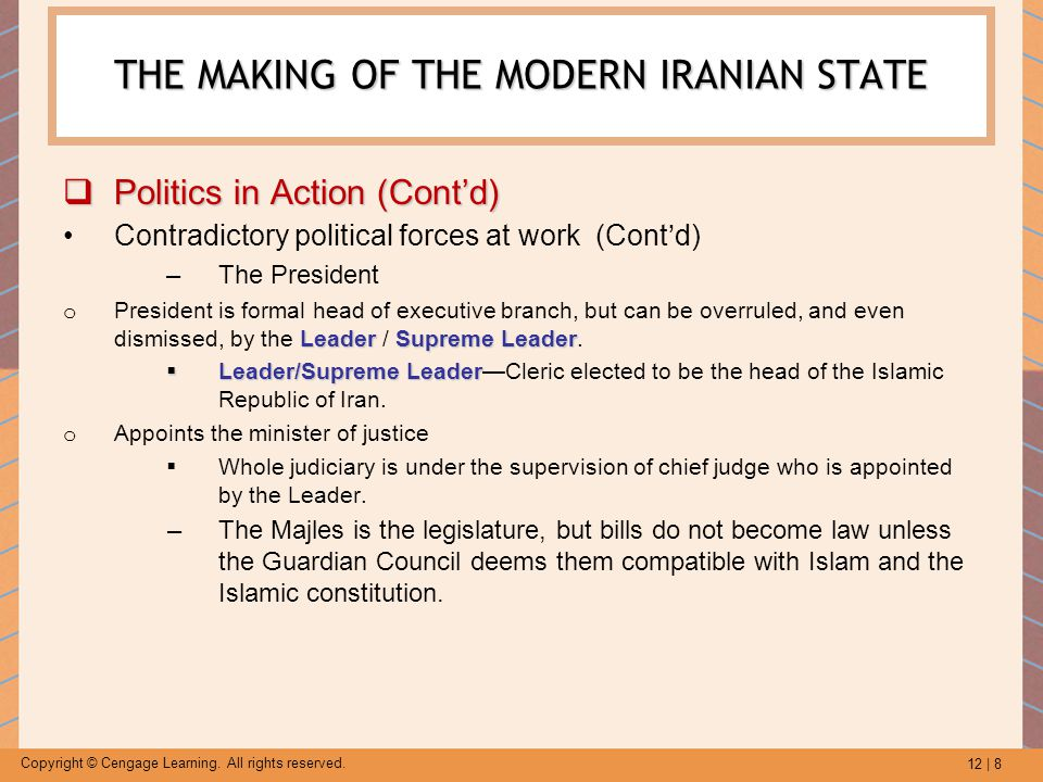 12 | 8 Copyright © Cengage Learning. All rights reserved. THE MAKING OF THE MODERN IRANIAN STATE  Politics in Action (Cont'd) Contradictory political