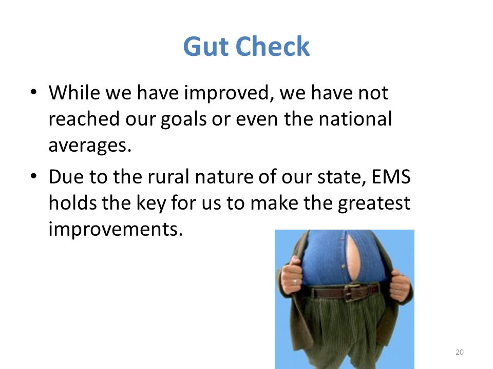 Gut Check While we have improved, we have not reached our goals or even the national averages.