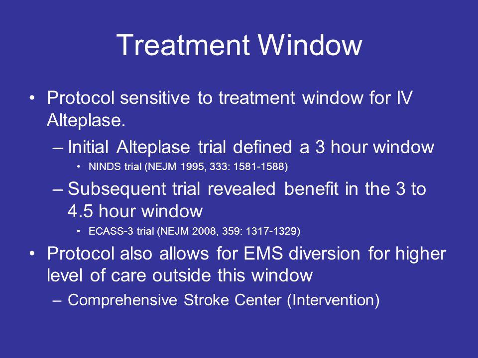 Treatment Window Protocol sensitive to treatment window for IV Alteplase. –Initial Alteplase trial defined a 3 hour window NINDS trial (NEJM 1995, 333