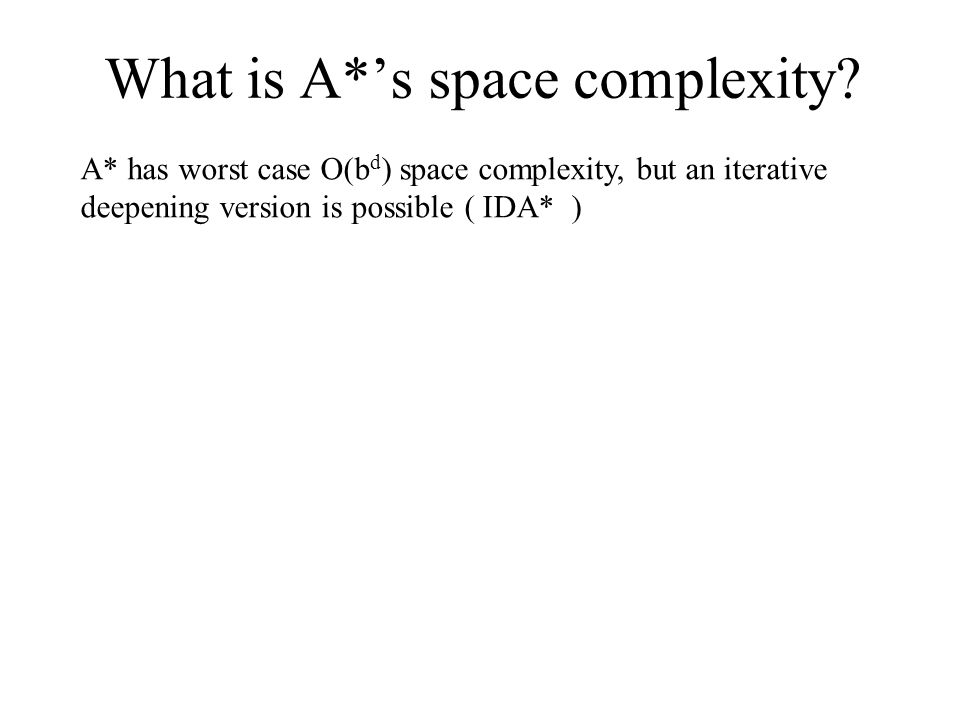 What is A*'s space complexity? A* has worst case O(b d ) space complexity, but an iterative deepening version is possible ( IDA* )
