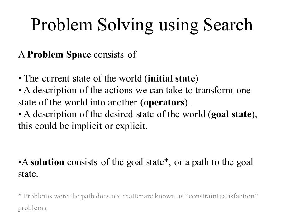 Problem Solving using Search A Problem Space consists of The current state of the world (initial state) A description of the actions we can take to tr