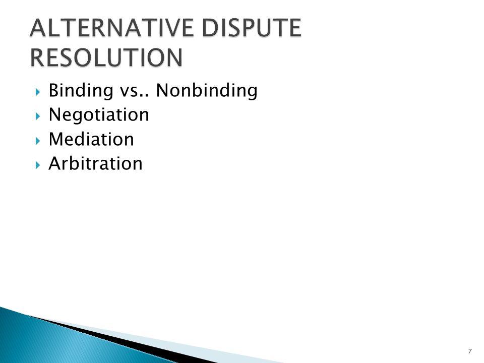  Binding vs.. Nonbinding  Negotiation  Mediation  Arbitration 7