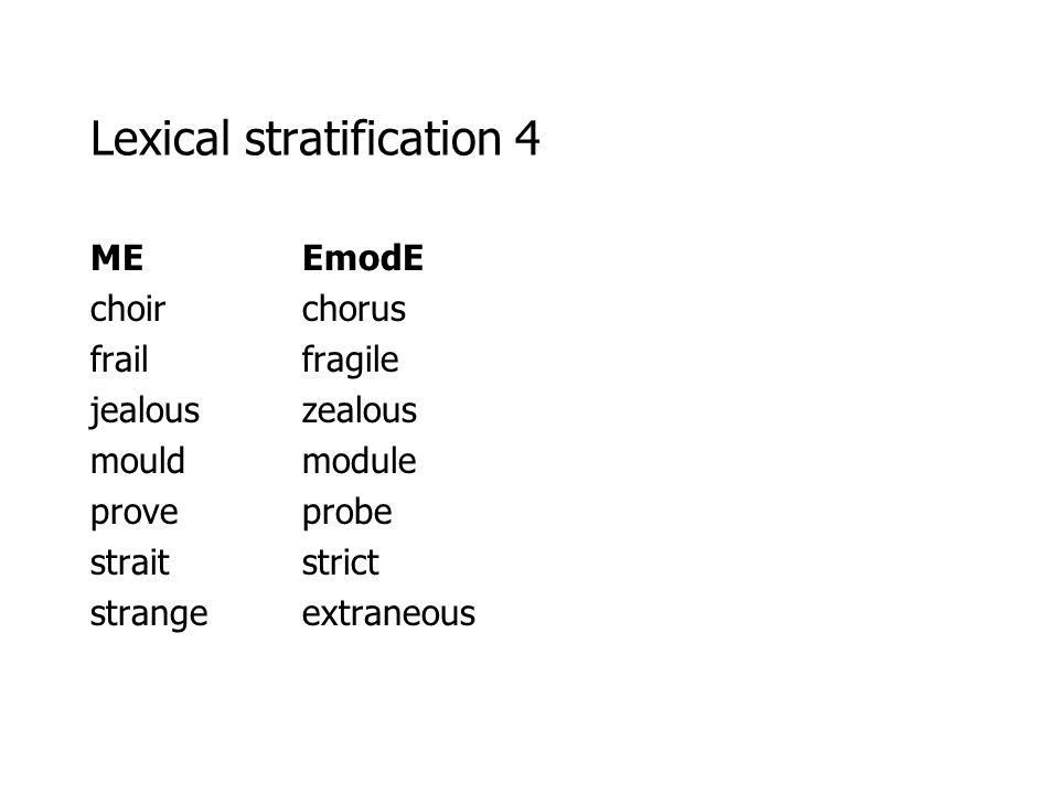 Lexical stratification 4 MEEmodE choirchorus frailfragile jealouszealous mouldmodule proveprobe straitstrict strangeextraneous