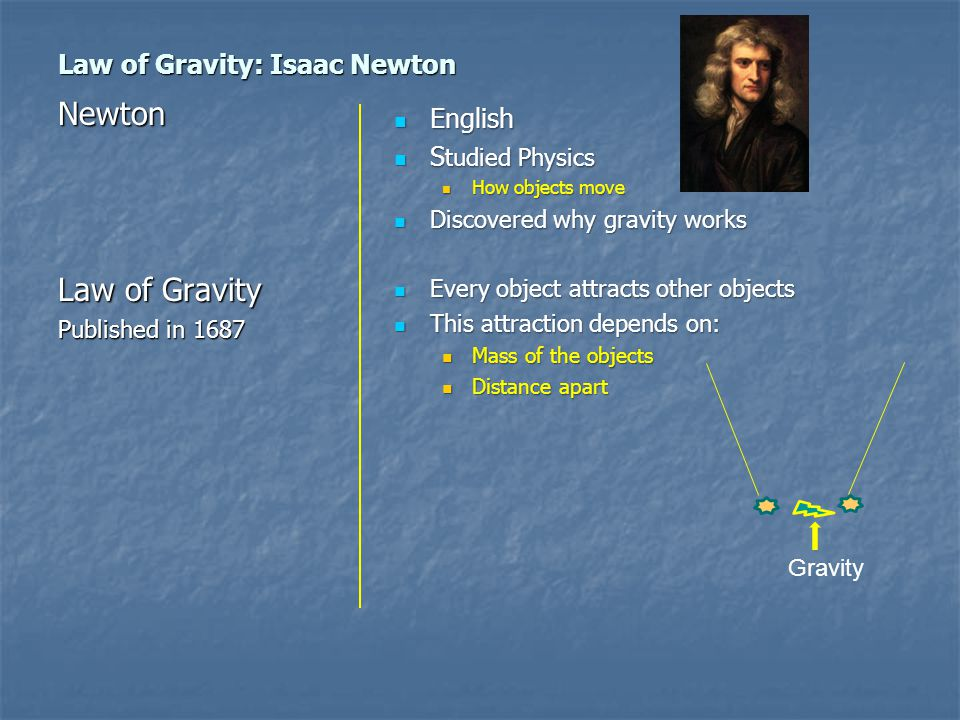 Law of Gravity: Isaac Newton English English S tudied Physics S tudied Physics How objects move How objects move Discovered why gravity works Discovered why gravity works Every object attracts other objects Every object attracts other objects This attraction depends on: This attraction depends on: Mass of the objects Mass of the objects Distance apart Distance apart Newton Law of Gravity Published in 1687 Gravity