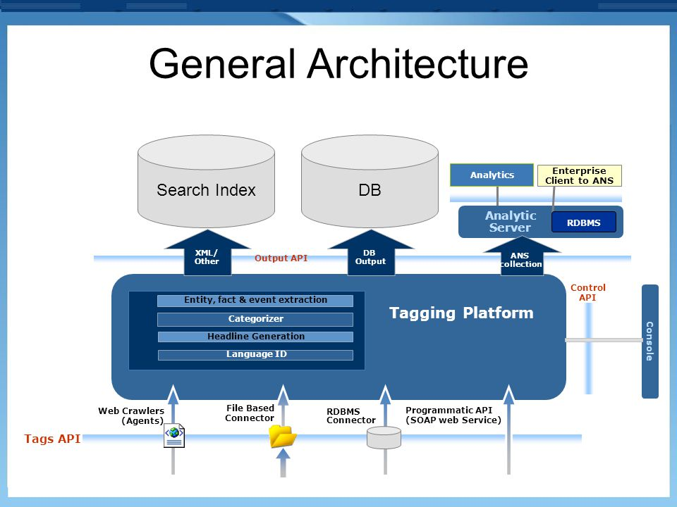 Analytics General Architecture Analytic Server Tagging Platform File Based Connector Programmatic API (SOAP web Service) Categorizer Entity, fact & ev