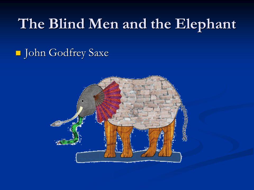 The Blind Men and the Elephant John Godfrey Saxe John Godfrey Saxe