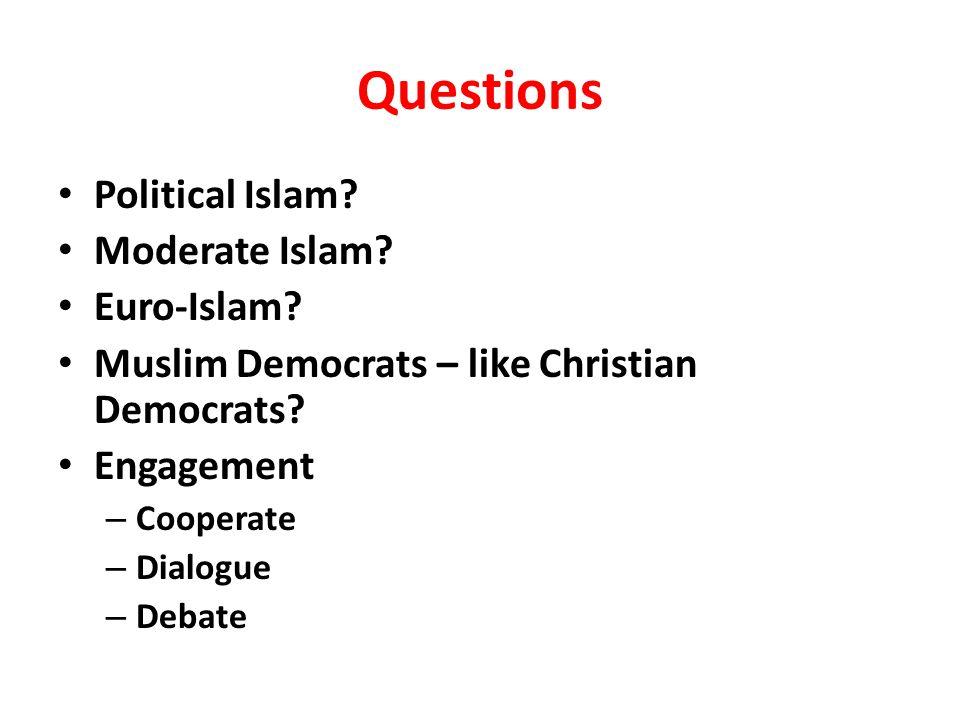 Questions Political Islam. Moderate Islam. Euro-Islam.