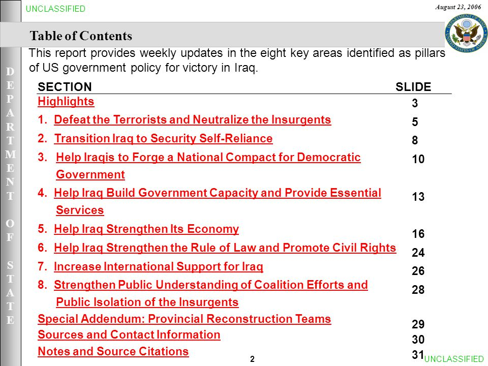DEPARTMENTOFSTATEDEPARTMENTOFSTATE August 23, 2006 2UNCLASSIFIED Table of Contents SLIDESECTION Highlights 1.