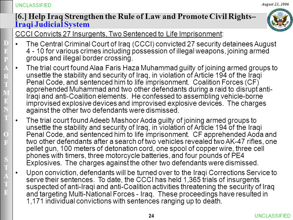 DEPARTMENTOFSTATEDEPARTMENTOFSTATE August 23, 2006 24UNCLASSIFIED [6.] Help Iraq Strengthen the Rule of Law and Promote Civil Rights– Iraqi Judicial System CCCI Convicts 27 Insurgents, Two Sentenced to Life Imprisonment: The Central Criminal Court of Iraq (CCCI) convicted 27 security detainees August 4 - 10 for various crimes including possession of illegal weapons, joining armed groups and illegal border crossing.