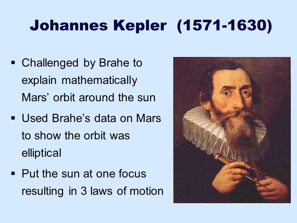 Johannes Kepler (1571-1630)  Challenged by Brahe to explain mathematically Mars' orbit around the sun  Used Brahe's data on Mars to show the orbit w