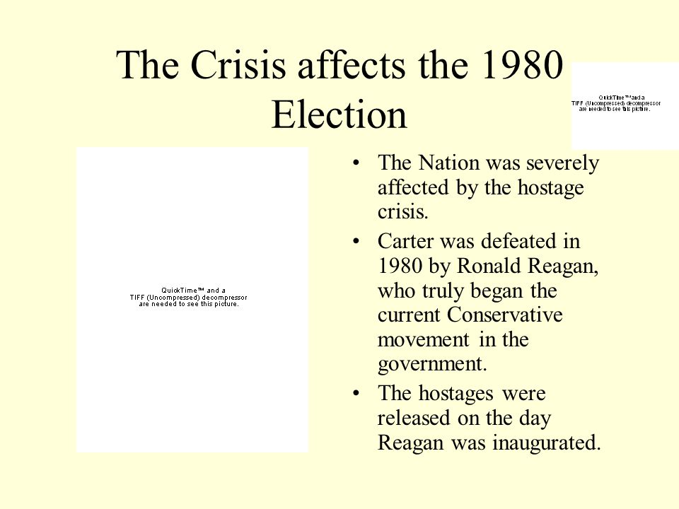 The Crisis affects the 1980 Election The Nation was severely affected by the hostage crisis.