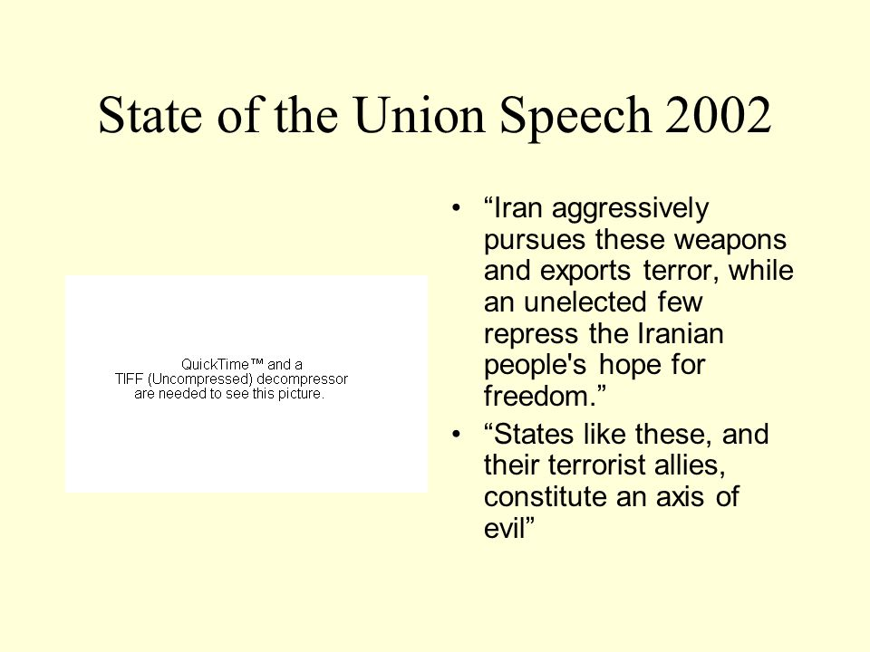 State of the Union Speech 2002 Iran aggressively pursues these weapons and exports terror, while an unelected few repress the Iranian people s hope for freedom. States like these, and their terrorist allies, constitute an axis of evil
