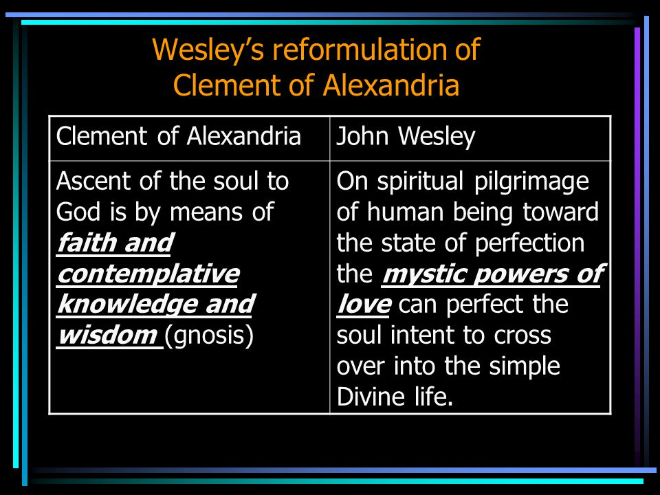 Wesley's reformulation of Clement of Alexandria Clement of AlexandriaJohn Wesley Ascent of the soul to God is by means of faith and contemplative know