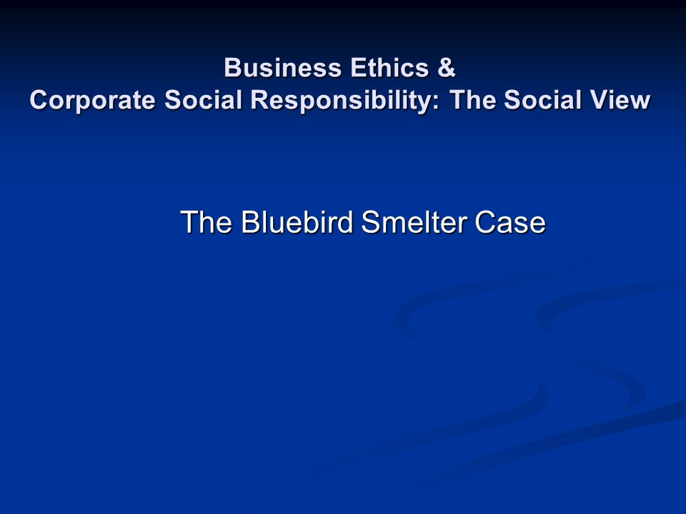 Business Ethics & Corporate Social Responsibility: The Social View The Bluebird Smelter Case